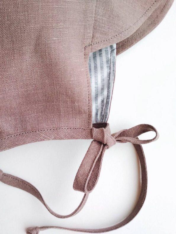 brimmed-taupe-linen-baby-bonnet-close