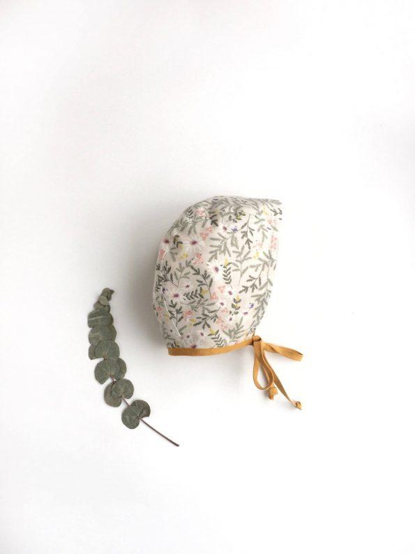 mustard-linen-floral-cotton-baby-bonnet