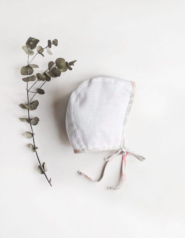 rosebay-floral-cotton-linen-baby bonnet