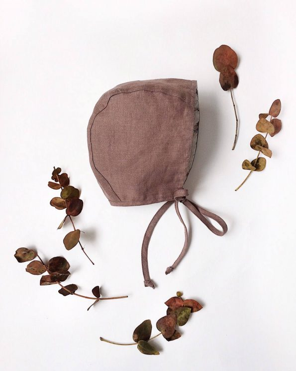 spring-blossom-taupe-linen-baby-bonnet-front